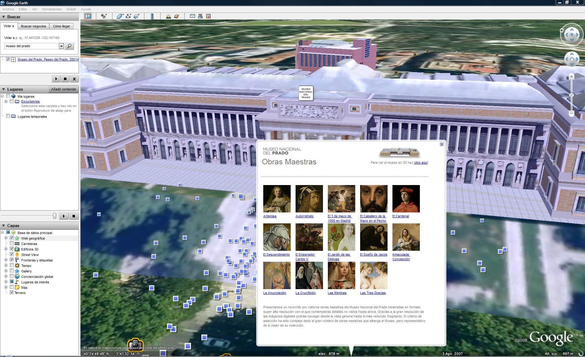 Museo del Prado: Obras maestras desde Google Earth